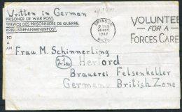 1947 GB Swindon P.O.W. Censor Letter Kriegsgefangenenpost Lodgefarm Camp, Lambourne, Berkshire - Herford,Germany - 1902-1951 (Kings)