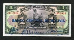 """Billete De """"1 Boliviano"""" Editado En 1911, Denominados """"Mercurios Con Sobresello"""". - Bolivia"""