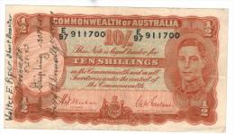 "Australia 10 Shill. 1939, VF! , ""Short Snorter"" ,  IIWW, Free Ship. To USA. - Pre-decimal Government Issues 1913-1965"