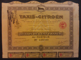 Lot  2   TAXI-CITROEN 1924 Action 100 FR - Shareholdings