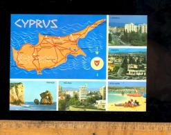 CYPRUS CHYPRE Larnaca Limassol Ayia Napa Nicosia Paphos  Map - Chypre