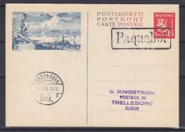 Finlande - Entier Postal - Cachet Paquebot - Expédié Vers Le Danemark - Cachet De Kobenhavn 1955 - Finnland