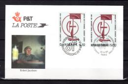 "FRANCE - DANEMARK 1988 : Enveloppe 1er Jour "" OEUVRE DE ROBERT JACOBSEN "". N° YT 2551 + DANEMARK 931. Parfait état. FDC - Emissions Communes"