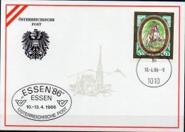 Messe-Karte EXPO Essen 1986 Österreich 1831 Maxicard O 4€ Tag D.Briefmarke 1985 Post-Reiter Rom Zu Pferd Card Of Austria - Poste & Facteurs