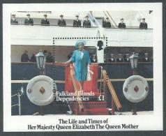Falkland Dépendances : Georgie Du Sud BF N° 2 XX 80éme Ann. De La Reine Mère Elisabeth , Le Bloc, Sans Char., TB - South Georgia