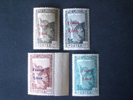 STAMPS REUNION ISLAND 1943 TIMBRES 1933-39 SURCHANGES FRANCE LIBRE MNH - Réunion (1852-1975)