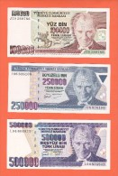 AC - TURKEY - 3 DIFFERENT BANKNOTES 100 000 TL, 250 000 TL AND 500 000 TL UNCIRCULATED - Türkei