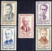 Francia 1960 Serie N. 1248-1252 EROI DELLA RESISTENZA MNH GO Catalogo € 14 - Ungebraucht