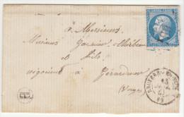 Vosges LSC  N°22 GC + T15 Bruyères En Vosges, Boîte Rurale H = Jussarupt (identifiée Par Le Rabat) 1867 - Postmark Collection (Covers)