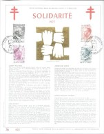 BELGIQUE 1977 COB FDC 1877-1880 PERSONNALITES CARTE SOUVENIR AVEC FRAPPE EN OR 23 CARATS 500 EX EDITES - Cartes Souvenir