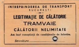 Romania - Bucuresti - ITB - Abonament Tramvai - Tramways