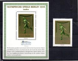 ALLEMAGNE  BERLIN Bloc Vignette + Timbre Vignette  * *  Sporthilfe JO  1916  Course - Atletiek