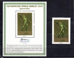 ALLEMAGNE  BERLIN Bloc Vignette + Timbre Vignette  * *  Sporthilfe JO  1916  Javelot - Atletiek