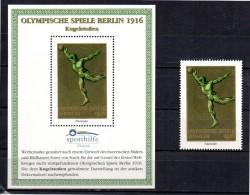ALLEMAGNE  BERLIN Bloc Vignette + Timbre Vignette  * *  Sporthilfe JO  1916 Lancer Du Poids - Atletiek