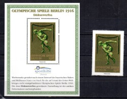 ALLEMAGNE  BERLIN Bloc Vignette + Timbre Vignette  * *  Sporthilfe JO  1916 Lancer Du Disque - Atletiek