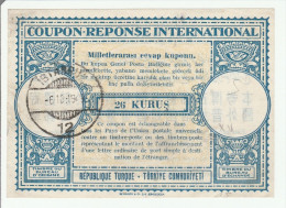 Coupon Réponse Turquie Turkiye - 26 Kurus 1949  - Modèle Londres 15 - Reply IRC CRI IAS - Postal Stationery