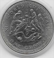 ONE CROWN ISLE DE MAN 1982 XII WORLD CUP SPAIN - Monnaies
