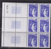 = Sabine De Gandon 6 Timbres Neufs N°1963 En Bord De Feuille Et Inscriptions T.D.3 --12 Sur Guillochis à Gauche 0.02f - 1977-81 Sabine De Gandon