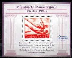 ALLEMAGNE Bloc Vignette  * *  Sporthilfe JO  1936 Natation - Swimming