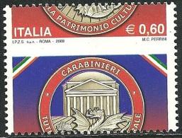 2009 - REPUBBLICA - CARABINIERI  - 0,60 EURO - VARIETA´ - MNH -  FIRMATO - LUSSO - - 1946-.. Republiek