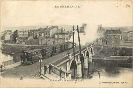 - Marne -ref- A561- Epernay - Le Pont De La Marne -  Ponts - Tramway A Vapeur - Tramways - Transports - - Epernay