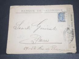 GRECE - Env Avec Censure Militaire De La Banque De Salonique Pour Paris - 1916 - A Voir - P17277 - Grecia