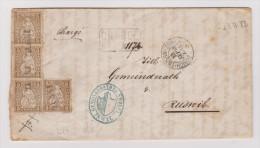 Heimat CH // LU INWIL Langstempel Zürich-Luzern-Zürich 1868-09-13 Zug Linienstempel 2 X Verwendeter Brief Nach Ruswil - Lettres & Documents