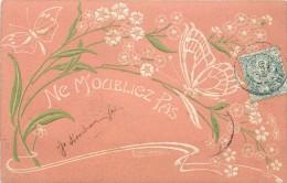 PAPILLON ET FLEURS - Carte Gaufrée. (emile Jemmes Illustrateur) - Papillons