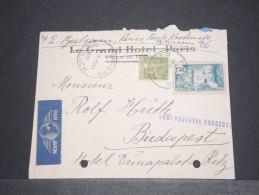 FRANCE - HONGRIE - Env Par Avion Pour Budapest - Avec Trous De Classement - Juin 1937 - A Voir - P17281 - Marcophilie