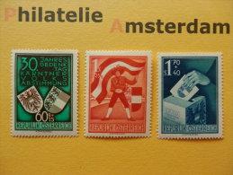 Austria 1950, POSTFRISCH: JAHRESGEDENKTAG KÄRNTNER VOLKSABSTIMMUNG: Mi 952-54, ** - 1945-.... 2de Republiek