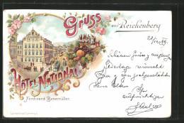 Lithographie Reichenberg / Liberec, Hotel National, Tramway - Tchéquie