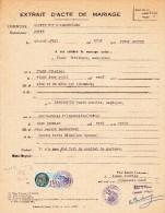Extrait Acte De Mariage 1924 PIASI Philibert Et ESPARCIEUX Marie à Sainte Foy L'Argentière 69 @ Taxes Communales  N° 22 - Documents Historiques