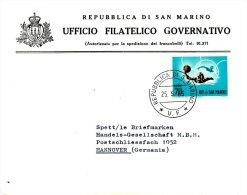 SAINT-MARIN. N°613 De 1963 Sur Enveloppe Ayant Circulé. J.O. De Rome/Water-polo.