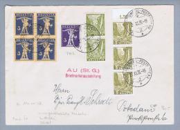 Heimat Sonderstempel Au(SG)Briefmarkenausstellung Aussergewöhnliche Frankatur - Suisse