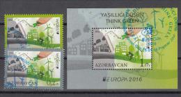 Az  1138-1140 Bl.164 Used Azerbaijan Aserbaidschan 2016 Europe Stamps 2016 Set Think Green M - 2016