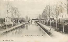 - Marne -ref A478 - Ay En Champagne - Le Canal Er Le Pont Du Chemin De Fer - Canaux - Train - Trains - - Ay En Champagne