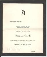 Faire-part Décès Dominic Et Bernard Cape, 1946 Et 1965. Bruxelles - Obituary Notices