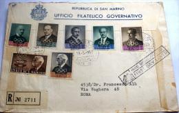 SAN MARINO 1969 - FDC SERIE COMPLETA PREOLIMPICA 7 VALORI , RACCOMANDATA VIAGGIATA - San Marino