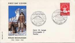 GRÖNLAND 1960 - First Day Cover Knud Rasmussen, 30 Öre Marke - FDC