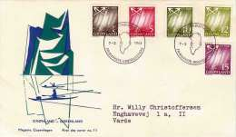 GRÖNLAND 1963 - First Day Cover, 5 Fach Frankierung - FDC