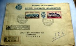 SAN MARINO 1958 TRITTICO POSTA AEREA FDC VIAGGIATA - Covers & Documents