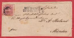 Brief Von Münich 25 MAR 1854 / Ein Silber Bayern / D.h. Vorseite Des Briefes - Bayern (Baviera)