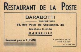Carte De Visite  -   Restaurant De La Poste  -   Barabotti  -   Marseille - Visiting Cards