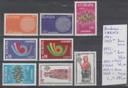 TIMBRE D ANDORRE NEUF** EUROPA  Nr 214/15**-230/1**-239/40**-250/1** LUXE ANNEE 1970-72-73-74 COTE 172.0€ - Andorre Français