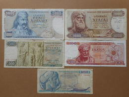 Greece 50,100,500,1000,5000 Drachmes 1964-1984 (Lot Of 5 Banknotes) - Greece