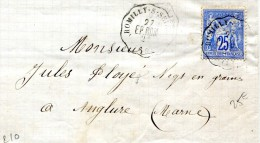 ROMILLY SUR SEINE Aube Convoyeur Station Ligne 210 Epernay à Romilly Sur 25c Sage Mars 1877   .....     .G - Railway Post