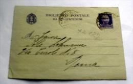ITALIA REGNO- BIGLIETTO POSTALE DA CENT 50 - 1900-44 Vittorio Emanuele III