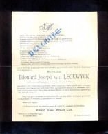 Devotie Doodsbrief - Edouard Van Leckwyck - Antwerpen 1866 - 1946 - Overlijden
