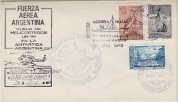 Argentina 1973 Heli Flight From Base Marambio To Base San Martin 3 Dec 1973 Cover (27606) - Polar Flights