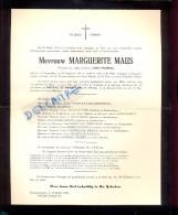 Devotie Doodsbrief - Marguerite Maus - Galmaarden 1884 - Geraardsbergen 1955 - Décès